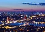 wandmotiv24 Fototapete Istanbul bei Nacht, S 200 x 140cm - 4 Teile, Fototapeten, Wandbild, Motivtapeten, Vlies-Tapeten, Großstadt, Städte M0374