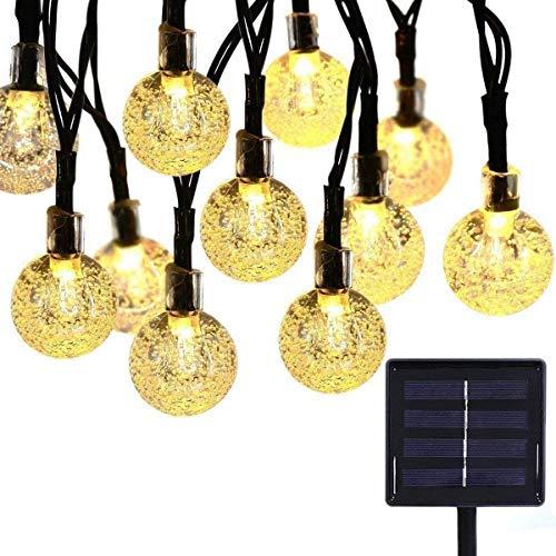 CHINS Guirnalda de luces LED, para exterior, cadena de luces LED, cadena de luces solar para jardín, globo, 4,5 m, 30 ledes, 8 modos IP65, luces para interior y exterior, fiesta, boda, Navidad