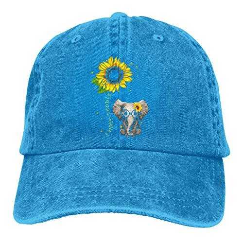 I Hate People Elefant Sonnenblume Unisex Baumwolle Denim Baseball Cap Sport Hat Casual Sonnenhut Cowboy Cap Schwarz Gr. One size, blau