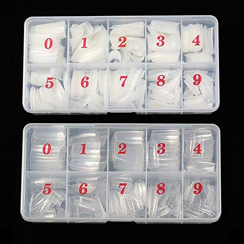 Acrylic Nail Tips French Acrylic Nails 1000pcs Artificial False Nails Half Cover Tips with Box for Nail Salons and DIY Nail Art, 10 Sizes (Clear+natural)