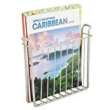 mDesign Decorative Modern Metal Wall Mount Magazine Holder, Organizer - Space Saving Compact Rack for Magazines, Books, Newspapers, Tablets, Laptops in Bathroom, Family Room, Office - Satin