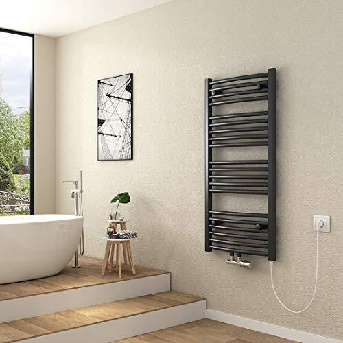 Hausbath Badheizkörper Mittelanschluss Warmwasser Anthrazit Handtuchwärmer 1000 x 500 x 50 mm Gebogen Handtuchhalter Elektrisch Bad Heizkörper