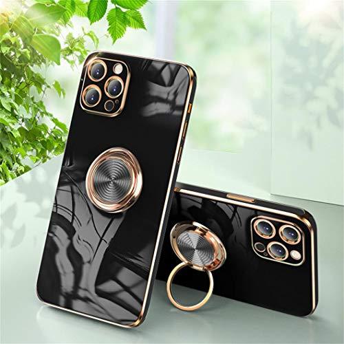 Jacyren Funda para iPhone 12 Pro, funda para iPhone 12 Pro, carcasa de silicona ultrafina con soporte magnético para el coche con soporte de 360 grados para el dedo (2 negro)