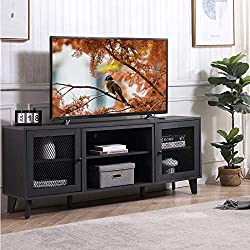 【Stylish Design with Mesh Doors】The mesh cabinet doors emphasizes fashion and elegance of this TV stand, which is suitable for most home decoration. Symmetrical design with the finest wood grain also match every sense of style in your living room. Co...