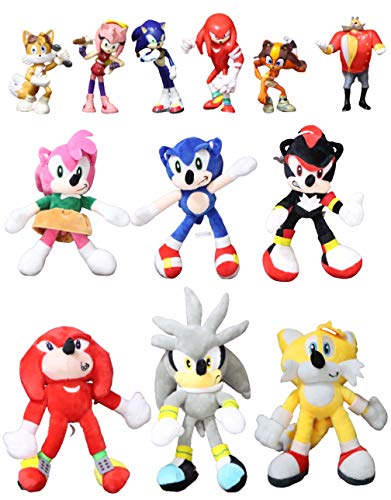 Juguetes Sonic 12 unids / Lote Juguetes de muñecas de Peluche Gran Oferta Shadow Amy Rose algodón Suave Juego de muñecas de Peluche Juguetes para niños Regalo de Chris para niños