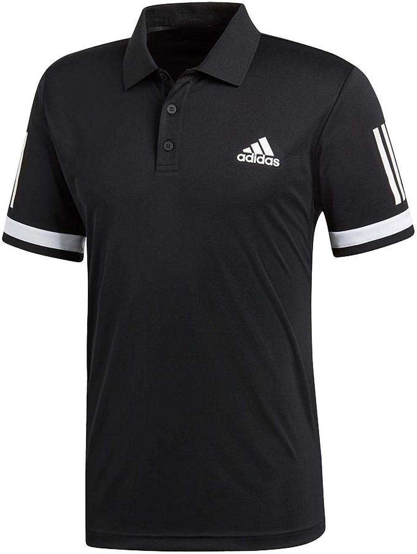 Adidas Men's Club 3 Stripes Polo (Black White)