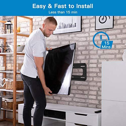Support Mural TV Inclinable pour la Plupart des téléviseurs Plats & incurvés LCD, OLED et Plasma de 26-55 Pouces - Support TV avec VESA Max de 400x400mm Capacité Max de 60 kg