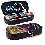 Estuche de lápices Wolf Dreamcatcher Bolso de lápices de gran capacidad Estuche de maquillaje con doble cremallera Porta bolígrafos para oficina escolar