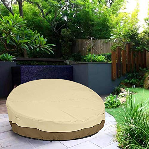 "I-GIFT 90"" Heavy Duty 420D Waterproof Daybed Cover Outdoor Round Canopy Day Bed Sofa Cover Patio Furniture Cover UV Weather Resistant"