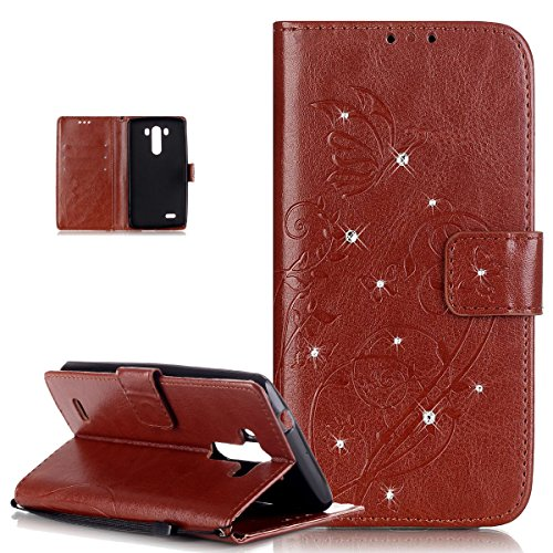 Kompatibel mit LG G3 Hülle,LG G3 Lederhülle,ikasus Strass Glänzend Prägung Blumen Reben Schmetterling Muster PU Lederhülle Handyhülle Taschen Flip Wallet Ständer Etui Schutzhülle für LG G3 Hülle,Braun