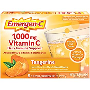 Emergen-C 1000mg Vitamin C Powder with Antioxidants B Vitamins and Electrolytes Vitamin C Supplements for Immune Support Caffeine Free Fizzy Drink Mix Tangerine Flavor 0.33 Ounce  Pack of 30