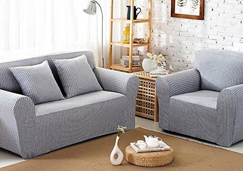 chezmax patrón de rayas suave algodón funda de tela de sofá 1pieza regla lienzo sofá Slipcovers