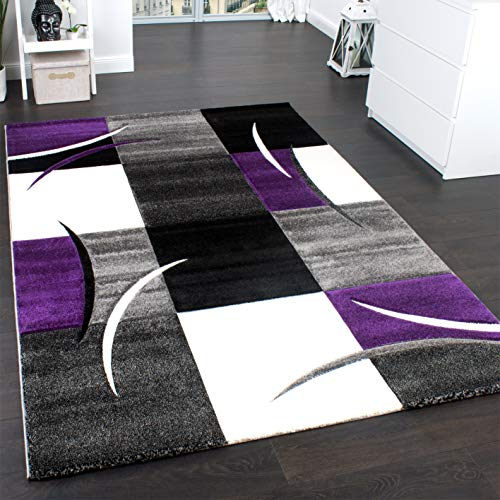 Paco Home Alfombra De Diseño Perfilado - A Cuadros En Lila Gris Negro, tamaño:120x170 cm