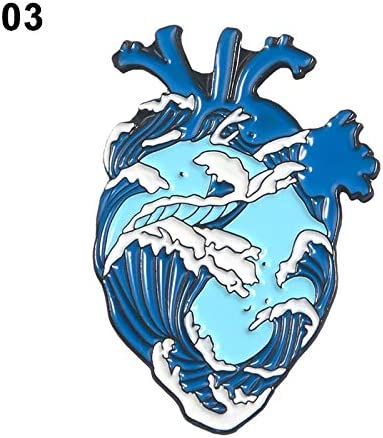 MWJK Anatomical Heart Enamel Pins Medical Anatomy Brooch Heart Neurology Pins for Doctor and Nurse Lapel Pin Bags Badge Gifts