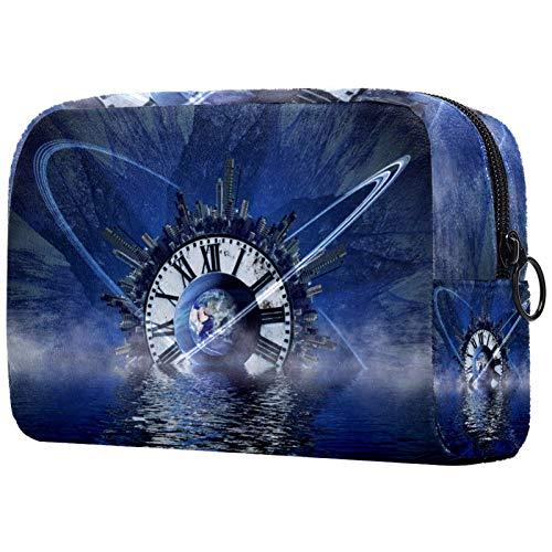 AITAI Bolsa de maquillaje grande bolsa de viaje organizador de cosméticos azul reloj