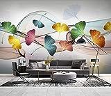 Fototapete 3d Effekt Tapete Farbe Ginkgoblattlinie Abstrakt Wohnzimmer Schlafzimmer Vlies Wand Tapeten Dekoration Wandbilder Wanddeko Wallpaper 350cm×256cm