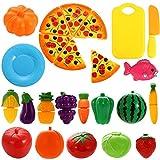 YW-WINN - Juego de 24 piezas de plástico con forma de frutas, verduras y pizza para cortar, juego educativo de simulación para niños