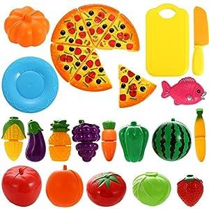 Twister.CK Pretend Play Food Toys, 24 Piezas Cutting Toy Set, Frutas y Verduras Educational Toys para niños y niños