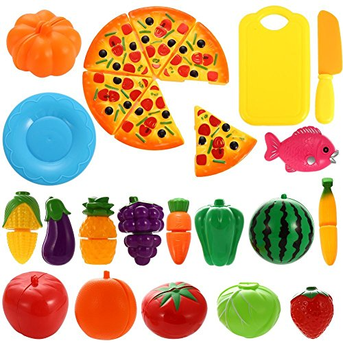 NIWWIN 24 PCS Play Food Set for Kids Plastic Cutting Pizza Fruits and Vegetables Pretend Play Set