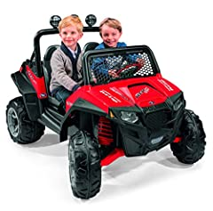 2-Speeds: 2. 5 - 5 mph (plus reverse) Super traction wheels Large sport bed (with tie-down anchors) Large adjustable bucket seats Off-Road windshield + roll bar Compatible with the Peg Perego Adventure Trailer (NOT included)