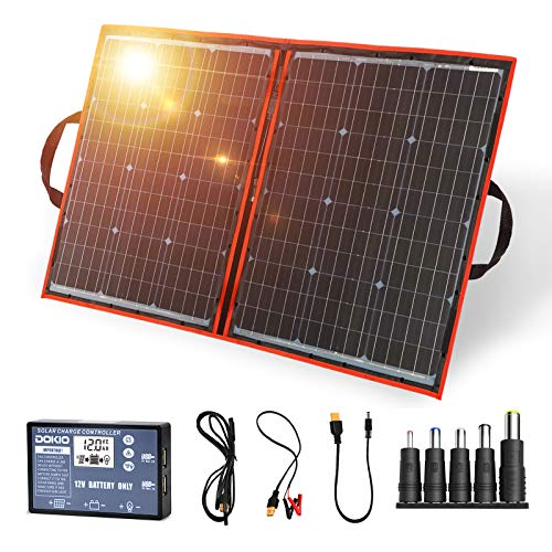 DOKIO 110W 18V Portable Foldable Solar Panel Kit Lightweight(6lb,29x21inch) Monocrystalline(HIGH-Efficiency) with Controller (2 USB Ports) to Charge 12v Batteries (AGM Gel) RV Camper Boat Pump