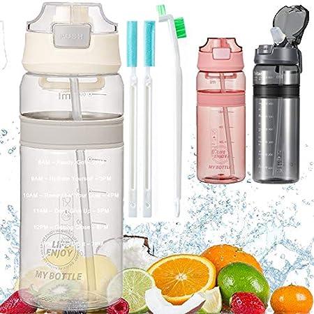Botella con Pajita Botellas de agua para niños sin BPA Marcador de Tiempo Motivacional y Cepillo de Limpieza, para Gimnasio Ciclismo Trekking Reutilizable Tapa Abatible de 1 Clic 550ml Blanco