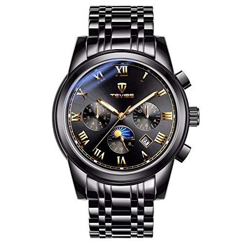Reloj de Pulsera de Negocios Resistente al Agua de Mano-Viento mecánico Elegante para Hombre -C