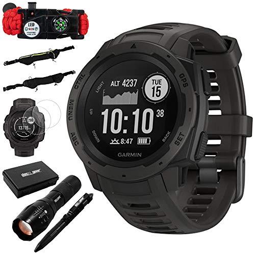 Garmin Instinct Rugged Outdoor Watch w/GPS & Heart Rate Monitoring, Graphite +Accessories Bundle Includes, Tactical Emergency Bracelet, Tactical Flashlight & Pen Set w/Case, Zippered Waist Bag +More