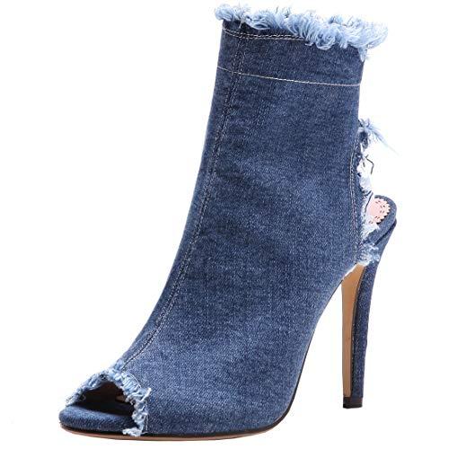 Etebella Damen Denim High Heels Stiletto Sommer Stiefeletten Peeptoe Slingback Sandalen Jeans Sandaletten Schuhe(Blau,36)