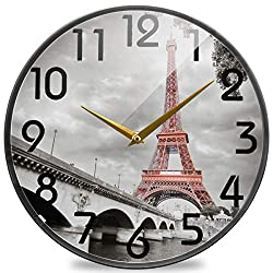 Naanle 3D Stylish Eiffel Tower Paris in Monochrome Style Round Wall Clock, 12 Inch Silent Battery Operated Quartz Analog Quiet Desk Clock for Home,Office,School,Cafe