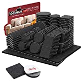 Felt Furniture Pads -182 Pcs Furniture Pads Self Adhesive, Cuttable Felt Chair Pads, Anti Scratch Floor Protectors for Furniture Feet Chair Legs, Furniture Felt Pads for Hardwoods Floors, Black