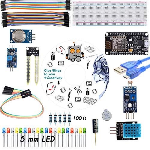 REES52 IoT(Internet of Things) Revolution Kit Basic IoT iduino IDE developer Cloud based Web-Server Wireless prototyping 10 projects on NodeMCU ESP8266 Wi-fi Board for students - ELGYEM