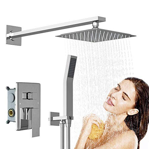 RUIFUDA Stainless Steel Shower System, 10 Inch Shower Faucet Set Brass Bathroom Luxury Rain Mixer Shower Combo Set Wall Mounted Rainfall Shower Head System (Rough-In Valve Body and Trim Included)