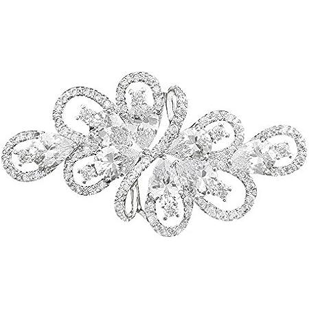 QUKE Broche de lujo con circonita cúbica de plata y cristal para novia de la boda