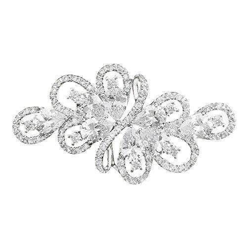 QUKE Broche de lujo con circonita cúbica de plata y cristal para...