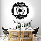 Studio Logo Wall Sticker Camera Art Design Business Office Room Window Decal Extraíble Mural decorativo Interior |Etiqueta de la pared57x55cm