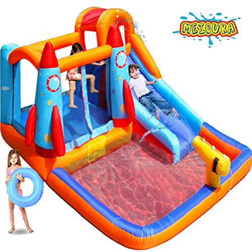 MEIOUKA Kids Inflatable Bounce House Castle with Blower Water Slide Pool Ball Pit Climbing Splash Water Gun Rocket Jump Bounce Houses for Kids Toddlers Outdoor Yard Party Inflatable Jumper Bouncer