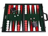 Middleton Games 21' Leatherette Backgammon Set - Black Board, Green Inlaid Velvet Field