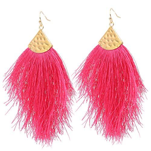 Vine Gems Pendientes de plumas con flecos para mujer, joyería bohemia, color rosa