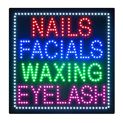 Nails Facial Waxing Eyelash Sign for Business, Super Bright Electric Advertising Display Board for Nails Salon Beauty Salon Business Shop Store Window Bedroom Decor (HSN0208-1)