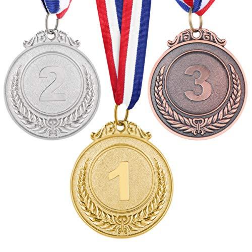 NUOBESTY medaglie Premio in Metallo con Nastro per Collo Oro Argento Bronzo Stile Olimpico medaglia Premio per accademici di competizioni Sportive 3 Pezzi