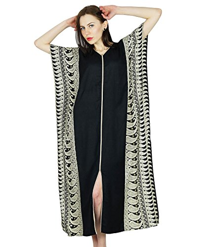 Bimba Frauen Rayon Lange Kaftan schwarzen Kaftan Maxi-Kleid Coverup Top