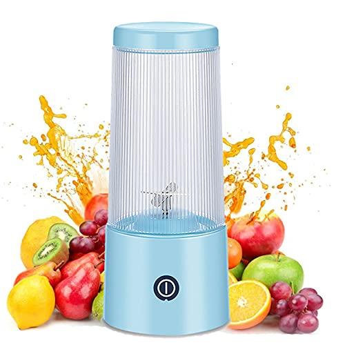 VNUWFM Licuadora Portátil, Mini Batidora USB Carga Multifuncional Exprimidores Eléctricos Camping Office Licuadora para Verduras Y Frutas Batidora Vaso Individual,Azul