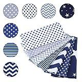 SUPERSUN 7 Piezas 50x50cm Telas Patchwork de Algodón para Manualidades, Costura, DIY, Azul