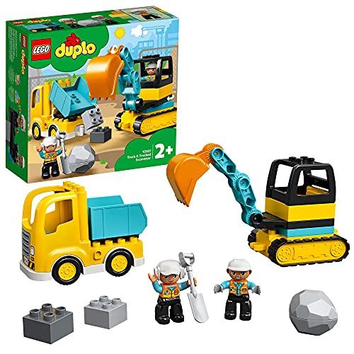 LEGO DUPLO Camion e Scavatrice Cingolata, Set con Macchinine da Costruzione per Bambini di 2 Anni, 10931