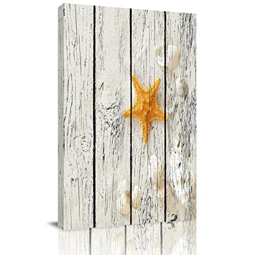 Canvas Prints Wall Art Paintings for Bathroom Kitchen Bedroom-Star Fish and Sea Shells on Sand Farmhouse Decor Pictures Modern Artwork Home Decor,Stretched and Framed Ready to Hang,8x12in
