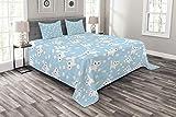 ABAKUHAUS Baby Tagesdecke Set, Amusing Cat mit Garn, Set mit Kissenbezügen Sommerdecke, für Doppelbetten 220 x 220 cm, Creme Blau