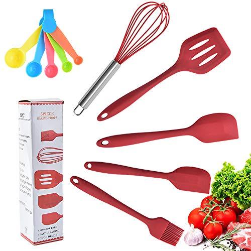 Juego de 6 espátulas de silicona de SchöNes, set de utensilios de cocina duraderos, incluye espátula, batidor, espátula, cepillo de aceite, cuchara medidora, color rojo