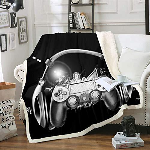 Loussiesd Manta de forro polar para videojuegos, juego y videojuegos, juego de sherpa, mando de felpa, manta de felpa negra, manta difusa para sofá cama, doble de 156 x 189 cm