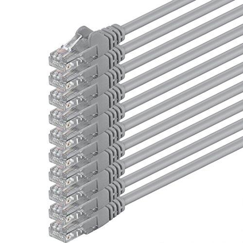 10m - grau - 10 Stück - (PACK) - CAT.6 CAT6 Ethernet-Lan-Netzwerk-Kabel 1000Mbit/s Patchkabel